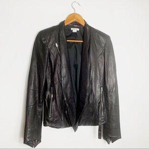 Helmet Lang 100% lamb leather black moto jacket